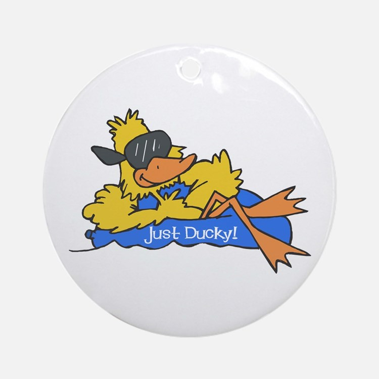 Ducky on a Raft Ornament (Round)
