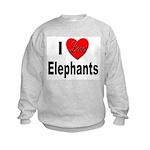 I Love Elephants (Front) Kids Sweatshirt