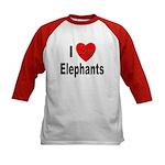 I Love Elephants (Front) Kids Baseball Jersey