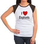 I Love Elephants (Front) Women's Cap Sleeve T-Shir