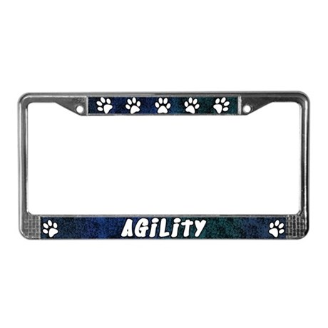 Paw Print Dog Agility License Plate Frame Blues By