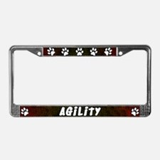 Paw Print Dog Agility License Plate Frame (Red)