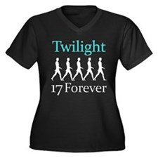 17 Forever Women's Plus Size V-Neck Dark T-Shirt