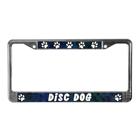 Paw Print Disc Dog License Plate Frame (Blues)
