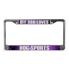 Dog Loves Dog Sports License Plate Frame (Purple)