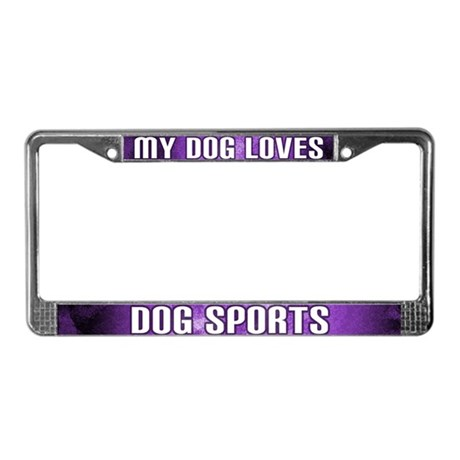 Dog Loves Dog Sports License Plate Frame (Purple)