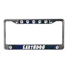 Paw Print Earthdog License Plate Frame (Blues)