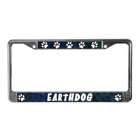 Paw Print Earthdog License Plate Frame (Blues)