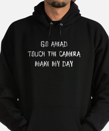 Go ahead. Touch the camera Hoodie (dark)