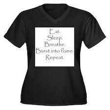 Cute Hollywood humor Women's Plus Size V-Neck Dark T-Shirt