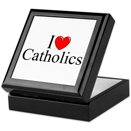 """I Love (Heart) Catholics"" Keepsake Box"