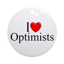 """I Love (Heart) Optimists"" Ornament (Round)"