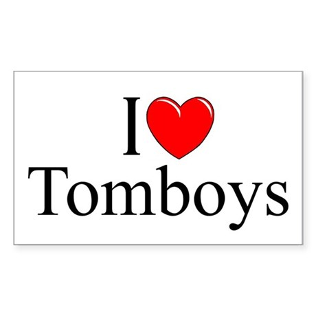 """I Love (Heart) Tomboys"" Rectangle Sticker"