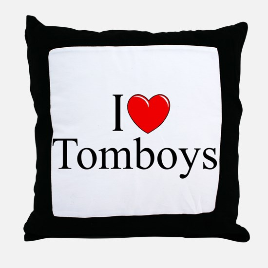 """I Love (Heart) Tomboys"" Throw Pillow"