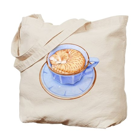 Cat in Coffee Tote Bag