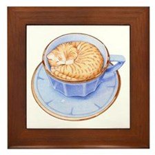 Cat in Coffee Framed Tile