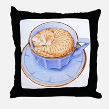 Cat in Coffee Throw Pillow