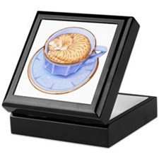 Cat in Coffee Keepsake Box