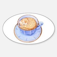 Cat in Coffee Oval Decal
