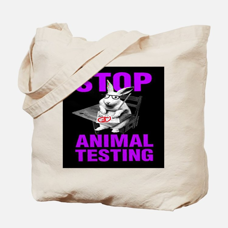 STOP ANIMAL TESTING purple Tote Bag