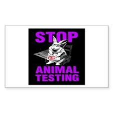STOP ANIMAL TESTING purple Rectangle Decal