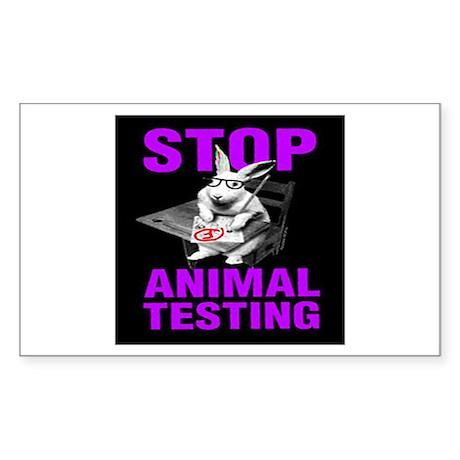 STOP ANIMAL TESTING purple Rectangle Sticker