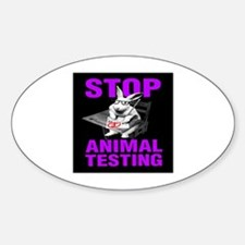 STOP ANIMAL TESTING purple Oval Decal