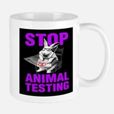 STOP ANIMAL TESTING purple Mug
