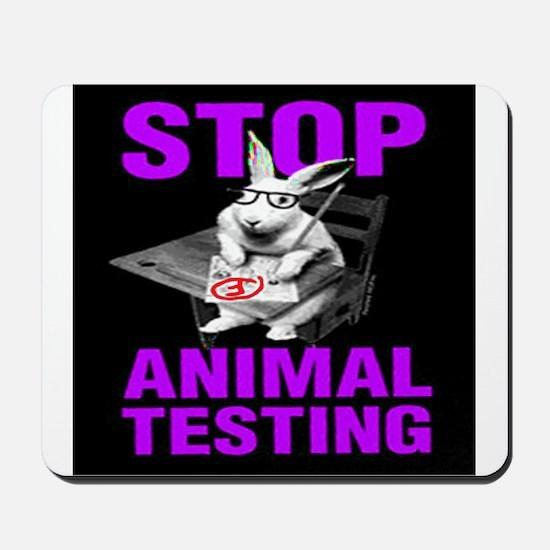 STOP ANIMAL TESTING purple Mousepad