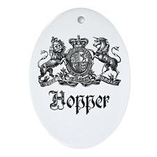 Hopper Vintage Crest Family Name Oval Ornament