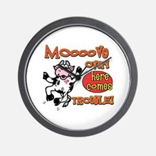 Mooove over here comes trouble Wall Clock
