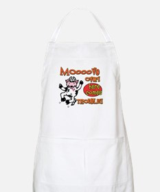 Mooove over here comes trouble BBQ Apron