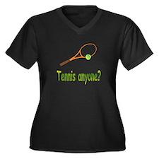 Tennis Women's Plus Size V-Neck Dark T-Shirt
