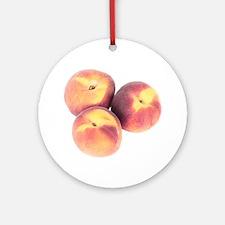 Three Peach Christmas Ornament (Round)
