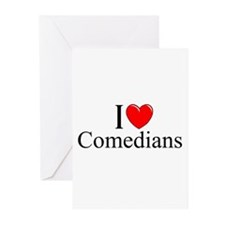 """I Love (Heart) Comedians"" Greeting Cards (Pk of 1"