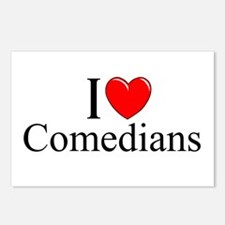 """""""I Love (Heart) Comedians"""" Postcards (Package of 8"""