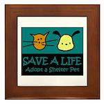 Save A Life Adopt a Pet Framed Tile