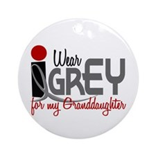 I Wear Grey For My Granddaughter 32 Ornament (Roun