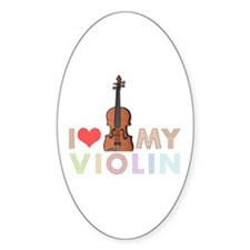 I Love My Violin Oval Decal