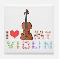 I Love My Violin Tile Coaster