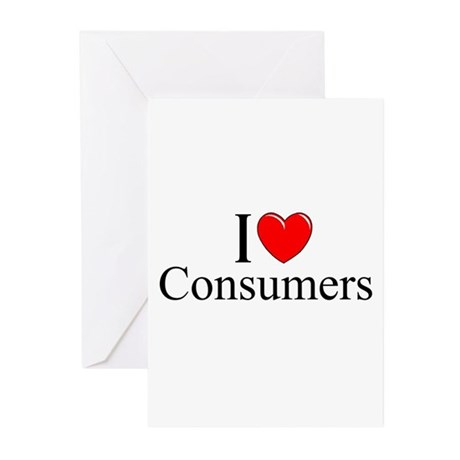"""""""I Love (Heart) Consumers"""" Greeting Cards (Pk of 1"""