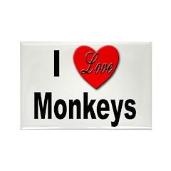 I Love Monkeys Rectangle Magnet (10 pack)