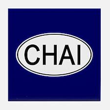 Euro Oval CHAI TEA Tile Coaster (navy)