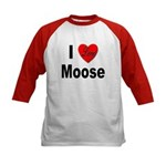 I Love Moose (Front) Kids Baseball Jersey
