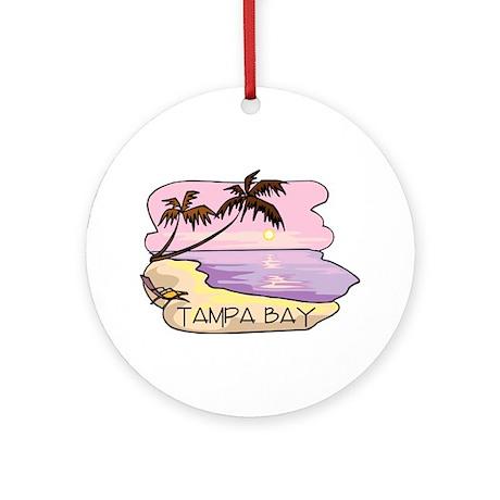 Tampa Bay Beach Scene Ornament (Round)