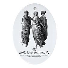 Faith, Hope, and Charity Oval Ornament