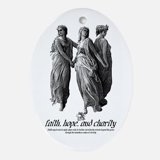 Faith, Hope, and Charity Oval Ornament