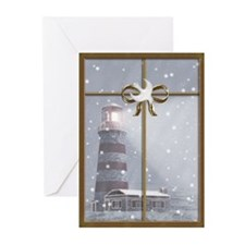 Lighthouse, Winter Christmas Greeting Cards (Pk o