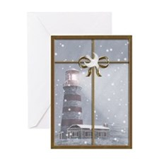 Lighthouse, Winter Christmas Greeting Card