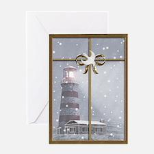 Lighthouse, Winter Christmas Greeting Card